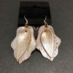 Jewelry - Two-Tone Leather Drop Earrings